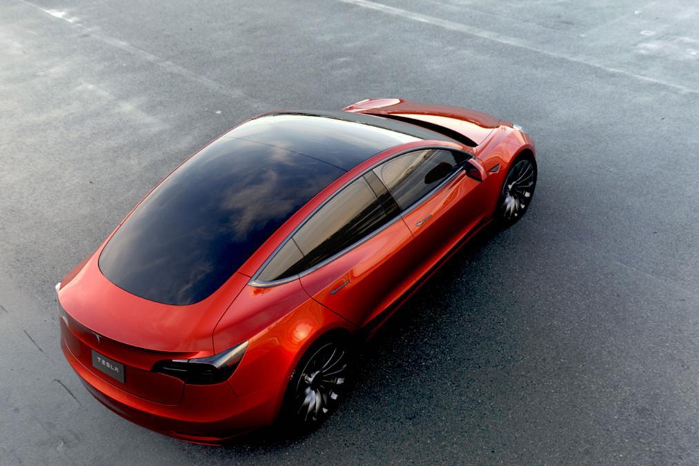 Tesla Model 3 rot Dach von oben und Seite 2016